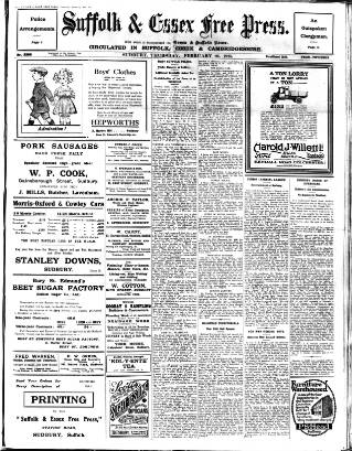 cover page of Suffolk and Essex Free Press published on February 26, 1925