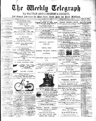 cover page of Waltham Abbey and Cheshunt Weekly Telegraph published on July 17, 1896