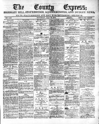 cover page of County Express; Brierley Hill, Stourbridge, Kidderminster, and Dudley News published on July 14, 1883