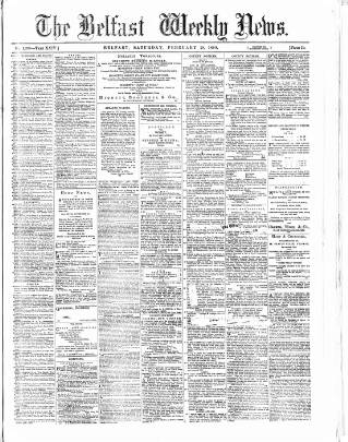 cover page of Belfast Weekly News published on February 28, 1880