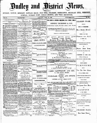 cover page of Dudley and District News published on July 14, 1883