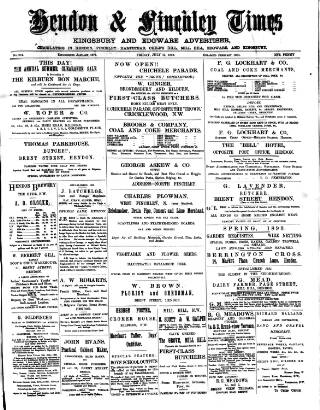 cover page of Hendon & Finchley Times published on July 14, 1893