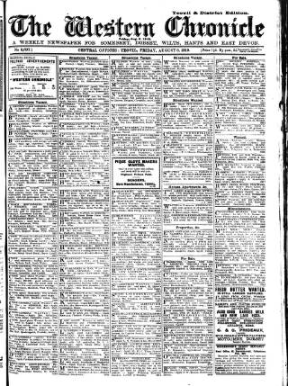 cover page of Western Chronicle published on August 8, 1919