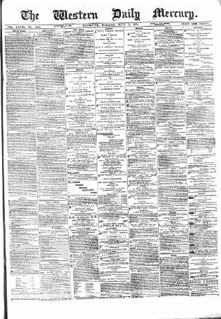cover page of Western Daily Mercury. published on July 14, 1874