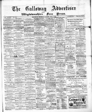 cover page of Galloway Advertiser and Wigtownshire Free Press. published on May 5, 1881