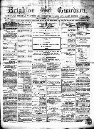 cover page of Brighton Guardian published on July 14, 1869