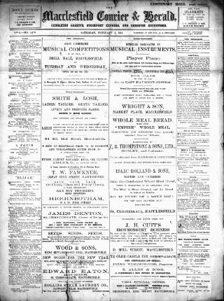 cover page of Macclesfield Courier and Herald, Congleton Gazette, Stockport Express, and Cheshire General Advertiser. published on February 4, 1911