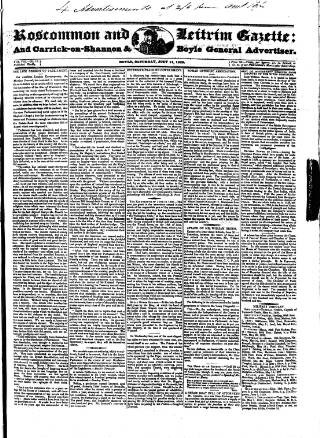 cover page of Roscommon & Leitrim Gazette published on July 11, 1829
