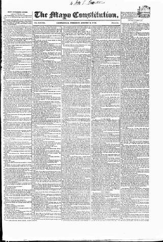 cover page of Mayo Constitution published on August 8, 1837