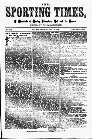 cover page of Sporting Times published on July 7, 1866