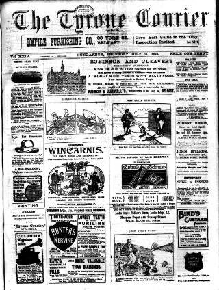 cover page of Tyrone Courier published on July 14, 1904