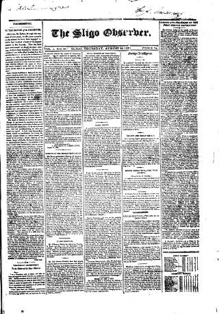 cover page of Sligo Observer published on August 26, 1830