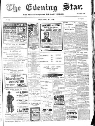 cover page of Evening Star published on May 5, 1905