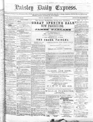 cover page of Paisley Daily Express published on March 9, 1877