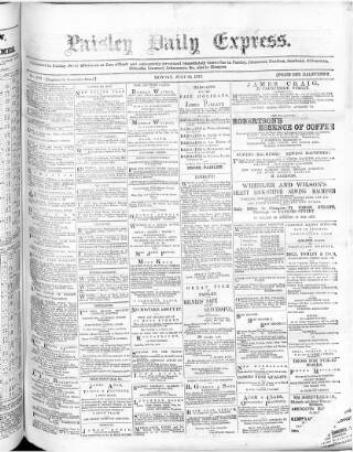 cover page of Paisley Daily Express published on July 16, 1877