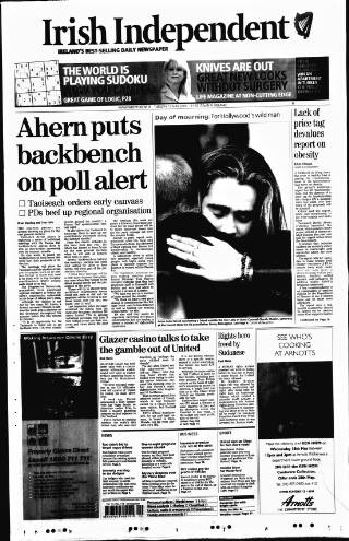 cover page of Irish Independent published on May 17, 2005