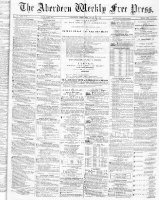 cover page of Aberdeen Weekly Free Press published on July 27, 1872