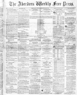 cover page of Aberdeen Weekly Free Press published on December 28, 1872
