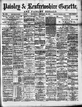 cover page of Paisley & Renfrewshire Gazette published on February 28, 1891