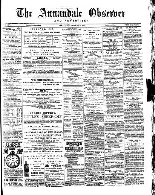 cover page of Annandale Observer and Advertiser published on February 25, 1887