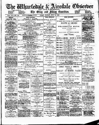 cover page of Wharfedale & Airedale Observer published on July 16, 1886