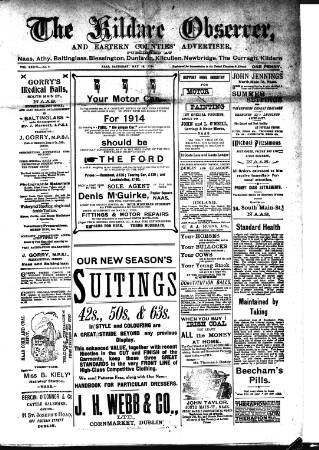 cover page of Kildare Observer and Eastern Counties Advertiser published on May 16, 1914