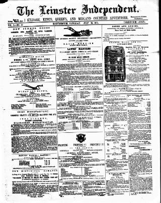 cover page of Leinster Independent published on July 15, 1871