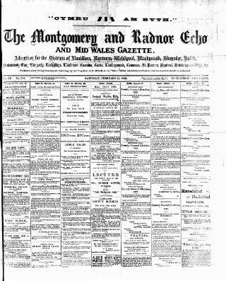 cover page of Montgomeryshire Echo published on February 26, 1898