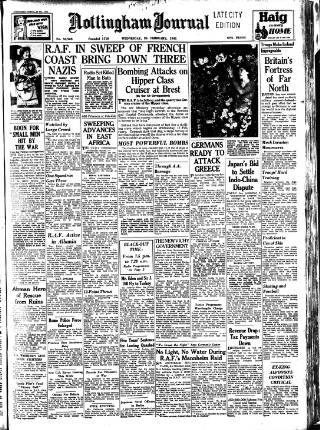cover page of Nottingham Journal published on February 26, 1941