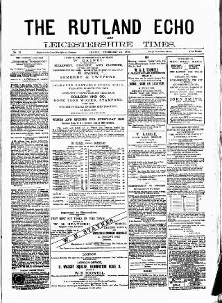 cover page of Rutland Echo and Leicestershire Advertiser published on February 28, 1879