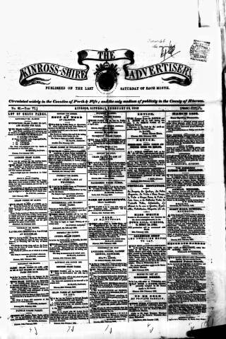 cover page of Kinross-shire Advertiser. published on February 28, 1852