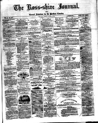 cover page of Ross-shire Journal published on August 22, 1884