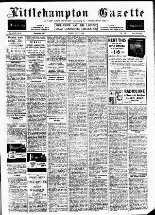 cover page of Littlehampton Gazette published on July 7, 1939