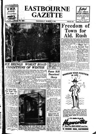 cover page of Eastbourne Gazette published on March 9, 1955
