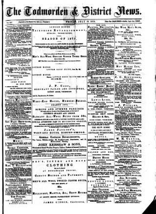 cover page of Todmorden & District News published on July 16, 1875