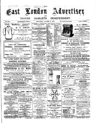 cover page of Tower Hamlets Independent and East End Local Advertiser published on August 8, 1885