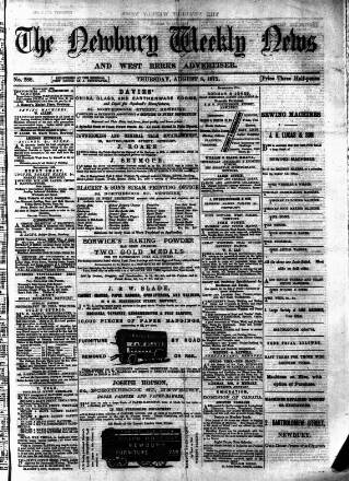 cover page of Newbury Weekly News and General Advertiser published on August 8, 1872