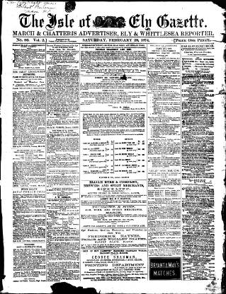 cover page of Cambridgeshire Times published on February 28, 1874