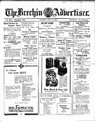 cover page of Brechin Advertiser published on July 14, 1953