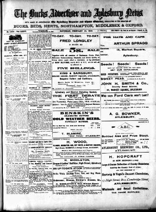 cover page of Bucks Advertiser & Aylesbury News published on February 10, 1912