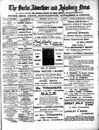 cover page of Bucks Advertiser & Aylesbury News published on July 27, 1912