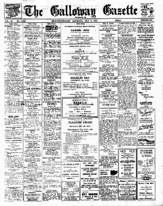 cover page of Galloway Gazette published on July 5, 1952