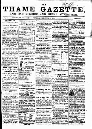 cover page of Thame Gazette published on February 28, 1865