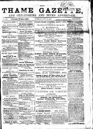cover page of Thame Gazette published on July 11, 1865