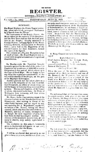 cover page of Military Register published on July 14, 1819