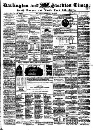 cover page of Darlington & Stockton Times, Ripon & Richmond Chronicle published on February 26, 1853