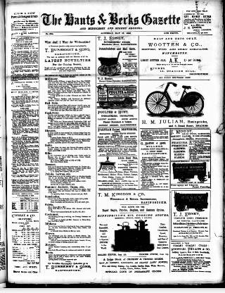 cover page of Hants and Berks Gazette and Middlesex and Surrey Journal published on May 16, 1896