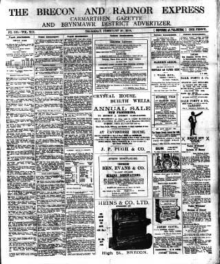 cover page of Brecon and Radnor Express and Carmarthen Gazette published on February 20, 1908