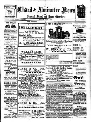 cover page of Chard and Ilminster News published on August 8, 1908