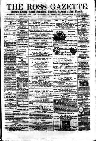 cover page of Ross Gazette published on July 11, 1872